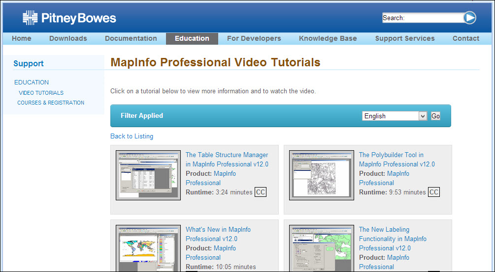 PitneyPowes MapInfo tutorials