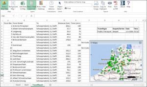 reistijden en locaties in kaart