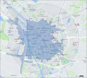 Isochroon auto 10 minuten Utrecht
